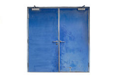 Old blue iron door isolated on white Royalty Free Stock Photos