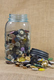 Old blue jar with sewing buttons Royalty Free Stock Image
