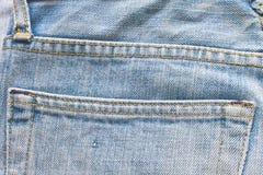 Old blue jeans pocket Stock Photo