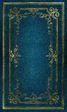 Old blue leather texture gold frame. Old blue leather texture with gold decorative frame Stock Images