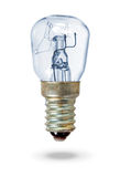 Old blue lightbulb over white Stock Image