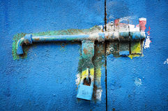 Old blue locker Stock Photography