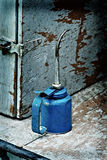 Old blue oil can Royalty Free Stock Image
