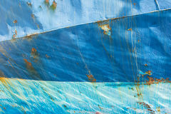 Old Blue Painted Metal. Abstract Vintage Background. Rusty Metal. Texture With Cracked Paint. Three Shades of Blue Stock Photo