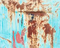 Old grunge corroded rusted metal wall texture. Old blue painted wall with rust texture. Grunge rusted metal background. Rust stains royalty free stock images
