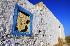 Old blue painted window frame royalty free stock image