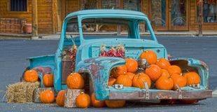 Old Pickup Truck Full of Pumpkins stock images