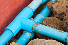 Old blue pipe Royalty Free Stock Images