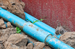 Old blue pipe Royalty Free Stock Photo