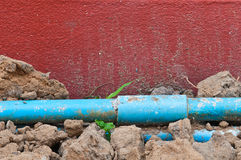 Old blue pipe Stock Photos