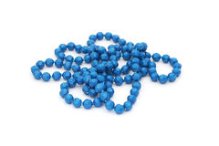 Old blue plastic bead necklace Stock Image