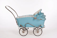 Old blue pram. For dolls from 1950 Royalty Free Stock Images