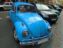 Old blue preserved beetle Volkswagen. Prague, Czech Republic, Royalty Free Stock Photos