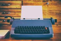 Old blue retro typewriter Royalty Free Stock Image