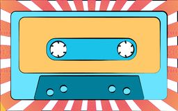 An old blue retro vintage antique hipster music audio cassette for a tape recorder on a background of beams. Vector illustration stock illustration