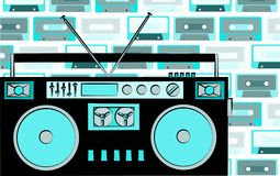 Old blue retro vintage antique hipster obsolete cassette music audio tape recorder on a background of blue music audio cassettes. Stock Photography