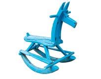 Old blue rocking horse Stock Image