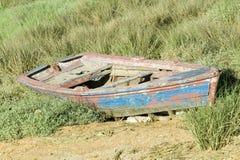 Old blue row boat on land at Palos de la Frontera - La R�bida, the Huelva Provence of Andalucia and Southern Spain, the site whe Royalty Free Stock Photos