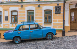 Old blue Russian car in Kiev Royalty Free Stock Photography