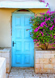Old blue rustic wooden door and flowers. retro filtered image Royalty Free Stock Photography