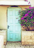 Old blue rustic wooden door and flowers. retro filtered image Royalty Free Stock Photo