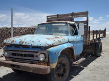 Old blue rusty car on a desert Royalty Free Stock Photo