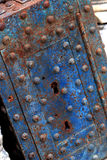 Old blue rusty safe Stock Photo