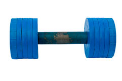 The old blue set of dumbells. On white background Royalty Free Stock Photography