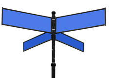 Old  blue signpost on a white Royalty Free Stock Photo