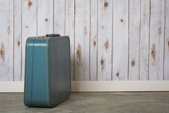 Old blue suit case Royalty Free Stock Photos