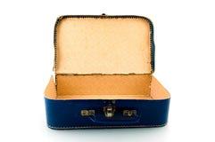 Old blue suitcase. On white background royalty free stock image