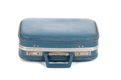 Old blue suitcase on white Royalty Free Stock Photography