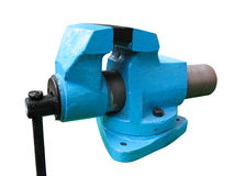 Old blue table mechanical vise clamp on white Stock Photo