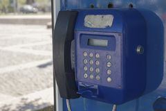 Old blue telephone Royalty Free Stock Photos