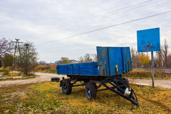 Old blue trailer. At the basketball hoop stock images