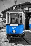 Old and blue tram Royalty Free Stock Image