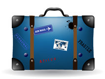 Old blue travel suitcase illustration Royalty Free Stock Images