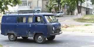Old Soviet-era van. Old blue van, still circulating on the streets of chisinau, Moldova stock images
