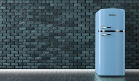Free Old Blue Vintage Refrigerator In The Empty Room Background. Dark Blue Brick Wall Royalty Free Stock Images - 173033349