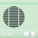 Old blue vintage retro style radio receiver. Vector illustration. Stock Photography