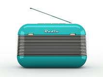 Old blue vintage retro style radio receiver on white ba