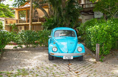 Old blue Volkswagen Type 1 Beetle, parked in Buzios. Stock Images
