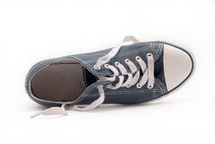 Old blue walking shoe Royalty Free Stock Images