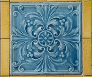 Blue Wall Tile with Floral Pattern Stock Photo