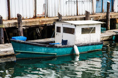 Old Blue and White Fishing Boat Royalty Free Stock Photo
