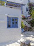 Old blue - white house, Aegean island, Greece Royalty Free Stock Images
