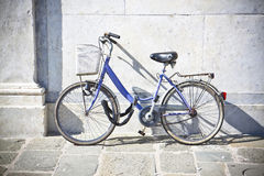 Old blue women bicycle Royalty Free Stock Photos