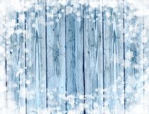 Old blue wood holiday background with snowflakes frame royalty free stock photos