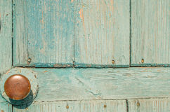 Old blue wooden door with brass handle Round Royalty Free Stock Images