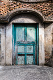 Old blue wooden door vintage building style, Bangkok Thailand Royalty Free Stock Images